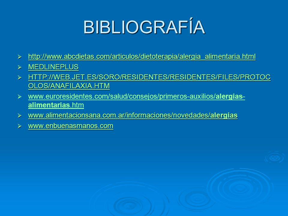 BIBLIOGRAFÍA http://www.abcdietas.com/articulos/dietoterapia/alergia_alimentaria.html http://www.abcdietas.com/articulos/dietoterapia/alergia_alimenta