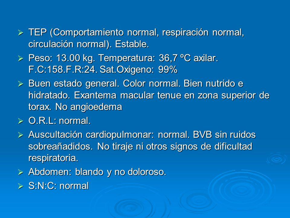 TEP (Comportamiento normal, respiración normal, circulación normal). Estable. TEP (Comportamiento normal, respiración normal, circulación normal). Est