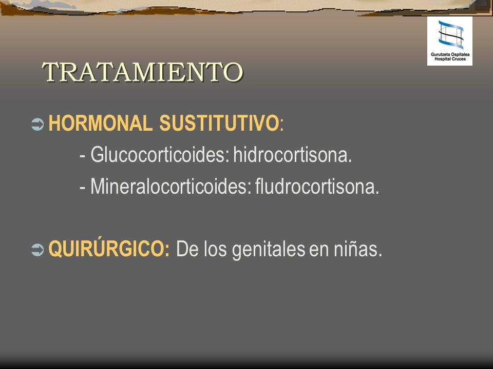 TRATAMIENTO HORMONAL SUSTITUTIVO : - Glucocorticoides: hidrocortisona. - Mineralocorticoides: fludrocortisona. QUIRÚRGICO: De los genitales en niñas.
