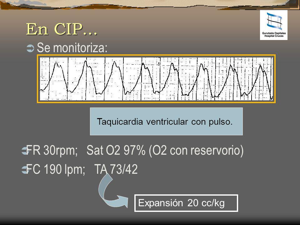 En CIP... Se monitoriza: Taquicardia ventricular con pulso. FR 30rpm; Sat O2 97% (O2 con reservorio) FC 190 lpm; TA 73/42 Expansión 20 cc/kg