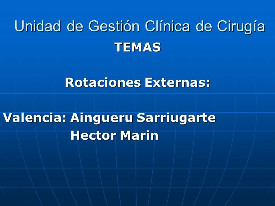 Unidad de Gestión Clínica de Cirugía Unidad de Gestión Clínica de Cirugía TEMAS Rotaciones Externas: Valencia: Aingueru Sarriugarte Hector Marin Hecto
