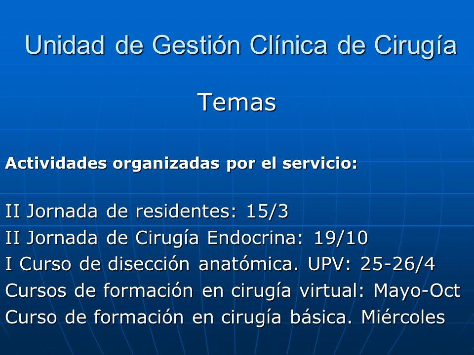 Unidad de Gestión Clínica de Cirugía Unidad de Gestión Clínica de Cirugía Temas Actividades organizadas por el servicio: II Jornada de residentes: 15/