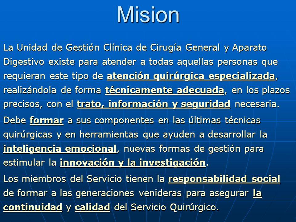 Mision La Unidad de Gestión Clínica de Cirugía General y Aparato Digestivo existe para atender a todas aquellas personas que requieran este tipo de at