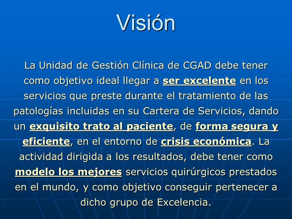 Visión La Unidad de Gestión Clínica de CGAD debe tener como objetivo ideal llegar a ser excelente en los servicios que preste durante el tratamiento d