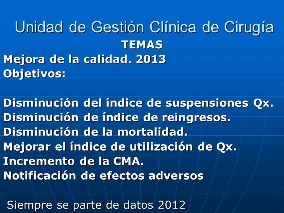 Unidad de Gestión Clínica de Cirugía Unidad de Gestión Clínica de Cirugía TEMAS Mejora de la calidad. 2013 Objetivos: Disminución del índice de suspen