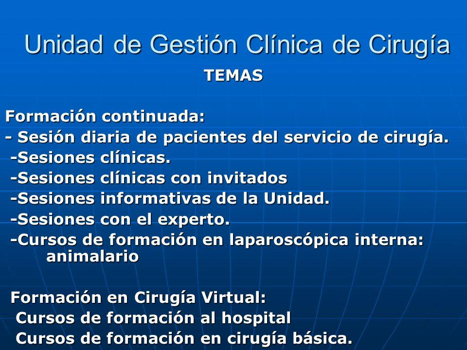 Unidad de Gestión Clínica de Cirugía Unidad de Gestión Clínica de Cirugía TEMAS Formación continuada: - Sesión diaria de pacientes del servicio de cir