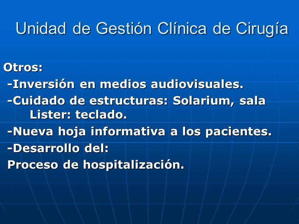 Unidad de Gestión Clínica de Cirugía Unidad de Gestión Clínica de Cirugía Otros: -Inversión en medios audiovisuales. -Inversión en medios audiovisuale