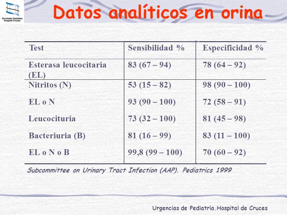 Urgencias de Pediatría.Hospital de Cruces Datos analíticos en orina Subcommittee on Urinary Tract Infection (AAP). Pediatrics 1999 TestSensibilidad %E