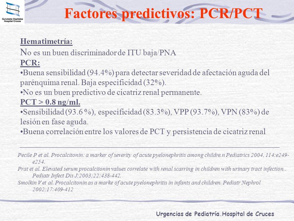 Urgencias de Pediatría.Hospital de Cruces Factores predictivos: PCR/PCT Hematimetría: N o es un buen discriminador de ITU baja/PNA PCR: Buena sensibil