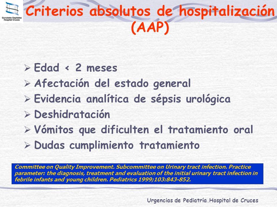 Urgencias de Pediatría.Hospital de Cruces Criterios absolutos de hospitalización (AAP) Edad < 2 meses Afectación del estado general Evidencia analític