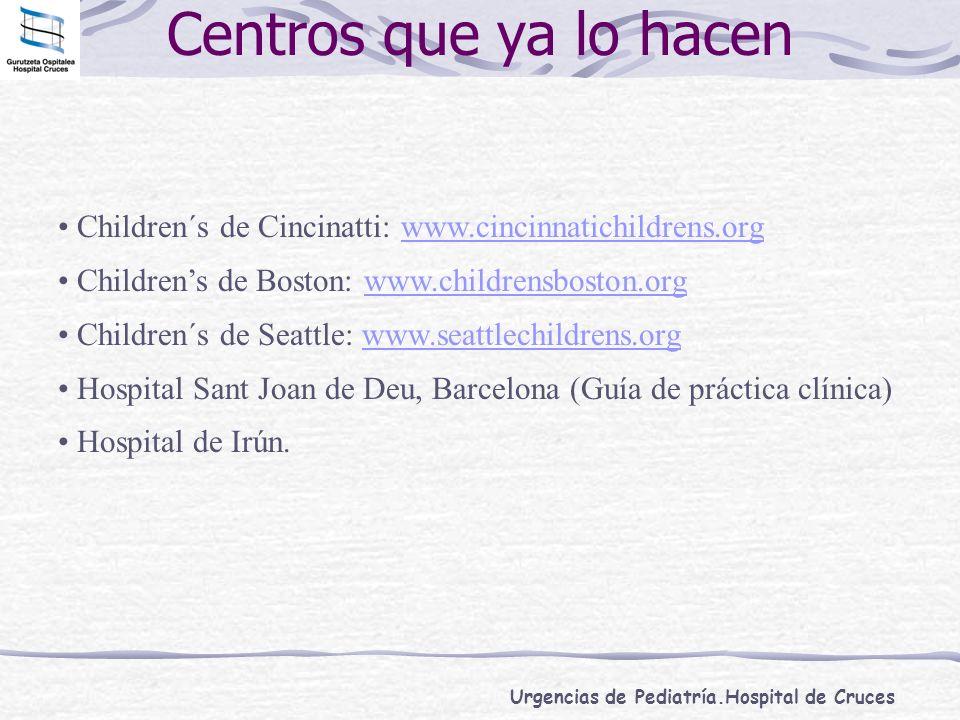 Urgencias de Pediatría.Hospital de Cruces Centros que ya lo hacen Children´s de Cincinatti: www.cincinnatichildrens.orgwww.cincinnatichildrens.org Chi