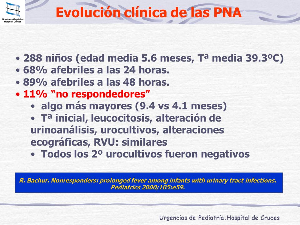 Urgencias de Pediatría.Hospital de Cruces Evolución clínica de las PNA 288 niños (edad media 5.6 meses, Tª media 39.3ºC) 68% afebriles a las 24 horas.