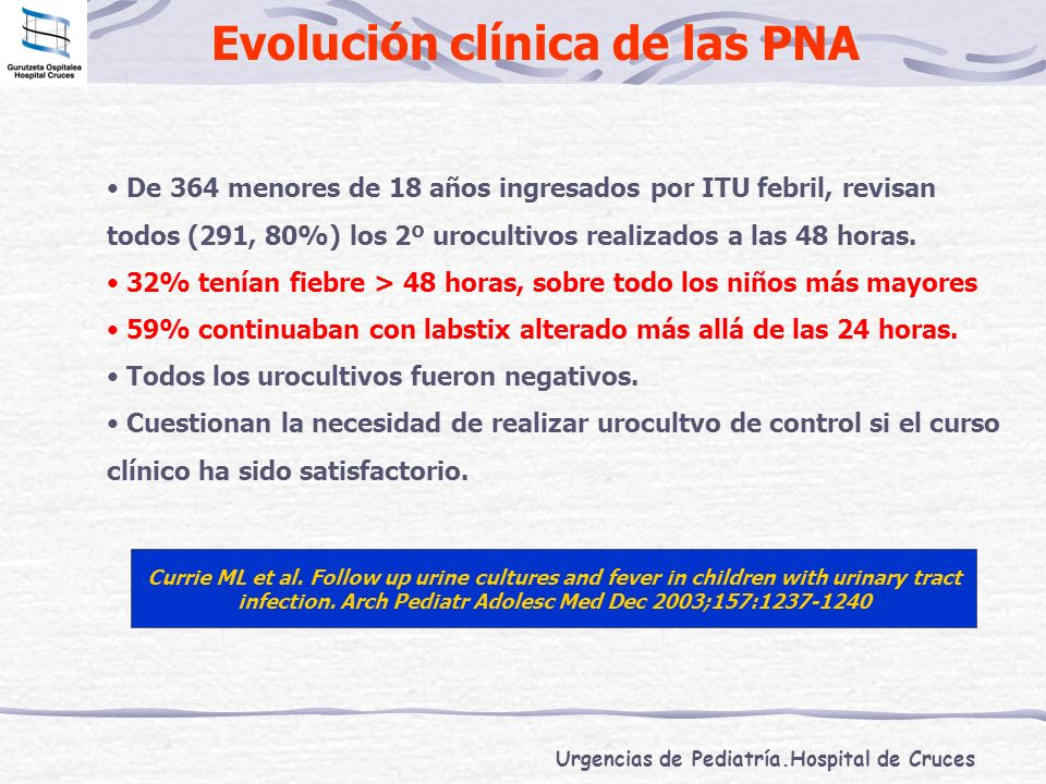 Urgencias de Pediatría.Hospital de Cruces Evolución clínica de las PNA Currie ML et al. Follow up urine cultures and fever in children with urinary tr