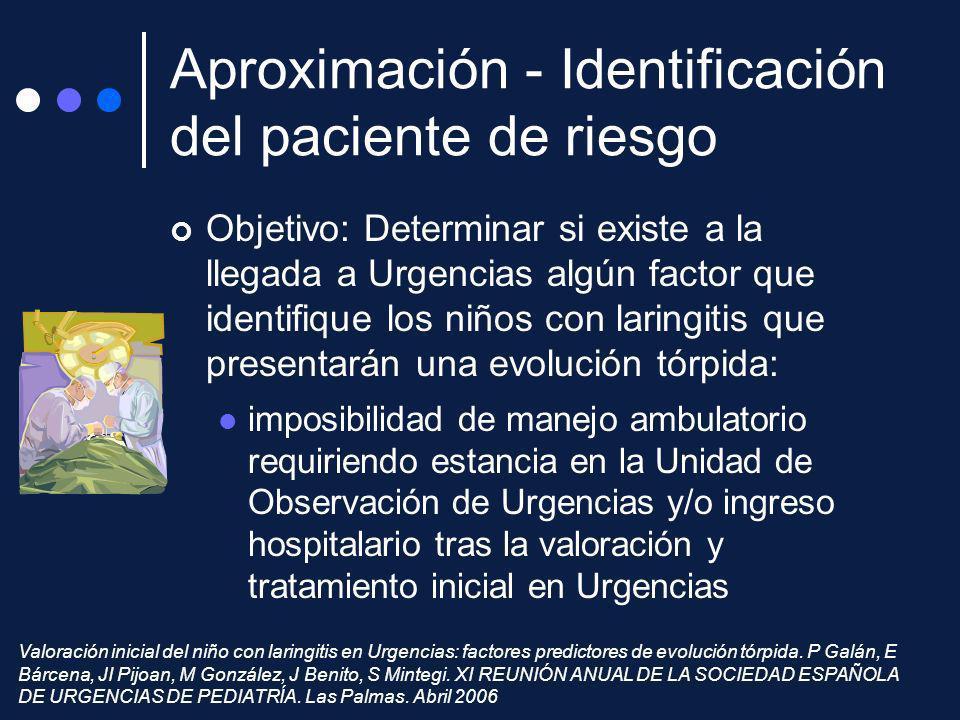 Objetivo: Determinar si existe a la llegada a Urgencias algún factor que identifique los niños con laringitis que presentarán una evolución tórpida: i