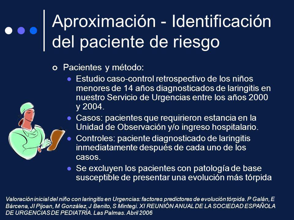 Pacientes y método: Estudio caso-control retrospectivo de los niños menores de 14 años diagnosticados de laringitis en nuestro Servicio de Urgencias e