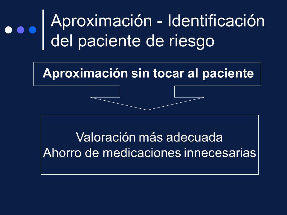 Aproximación sin tocar al paciente Valoración más adecuada Ahorro de medicaciones innecesarias Aproximación - Identificación del paciente de riesgo