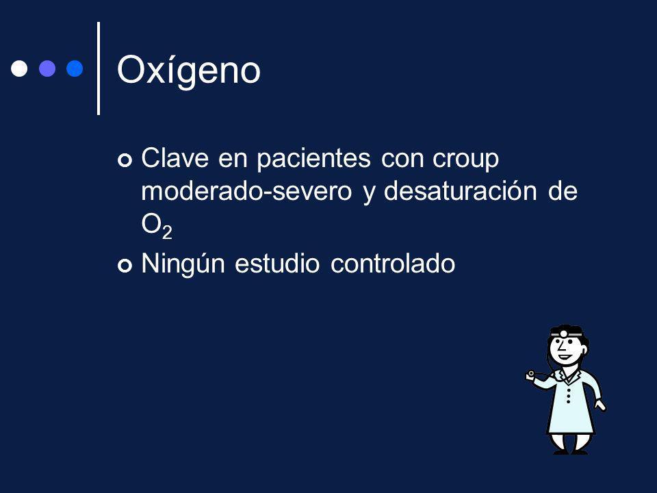 Oxígeno Clave en pacientes con croup moderado-severo y desaturación de O 2 Ningún estudio controlado