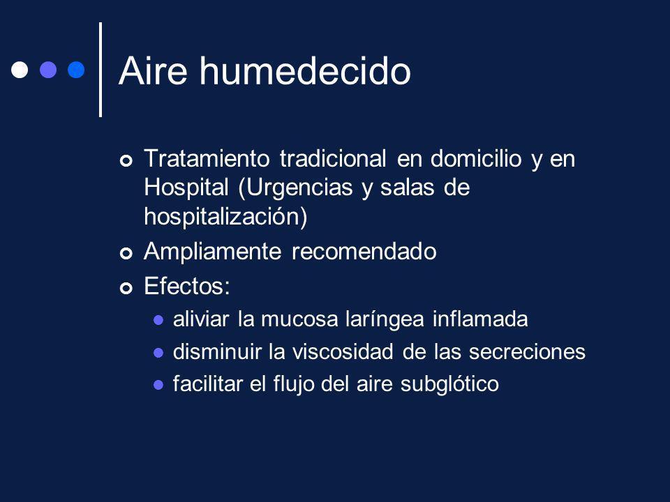 Aire humedecido Tratamiento tradicional en domicilio y en Hospital (Urgencias y salas de hospitalización) Ampliamente recomendado Efectos: aliviar la