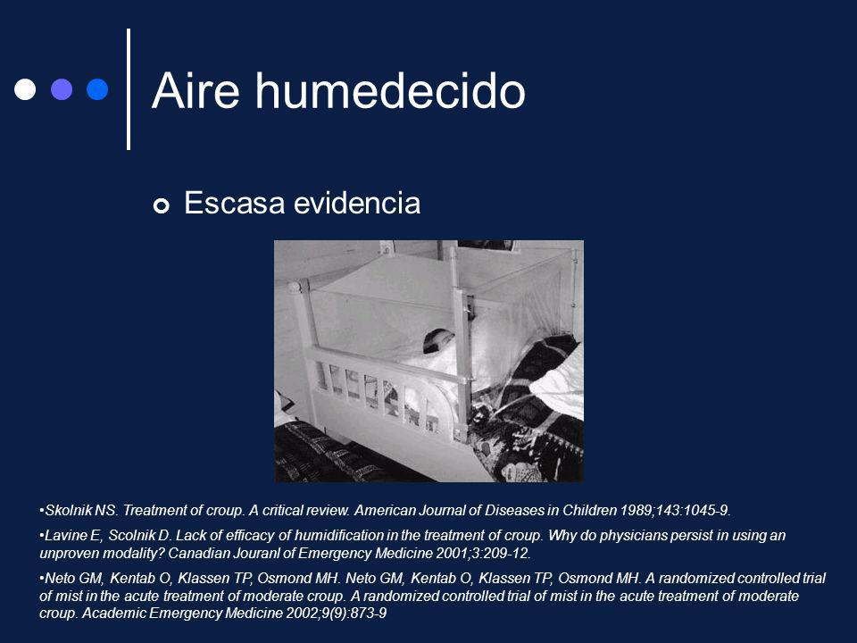 Aire humedecido Escasa evidencia Skolnik NS. Treatment of croup. A critical review. American Journal of Diseases in Children 1989;143:1045-9. Lavine E