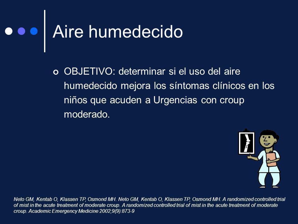Aire humedecido OBJETIVO: determinar si el uso del aire humedecido mejora los síntomas clínicos en los niños que acuden a Urgencias con croup moderado