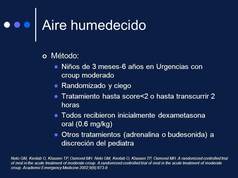 Aire humedecido Método: Niños de 3 meses-6 años en Urgencias con croup moderado Randomizado y ciego Tratamiento hasta score<2 o hasta transcurrir 2 ho