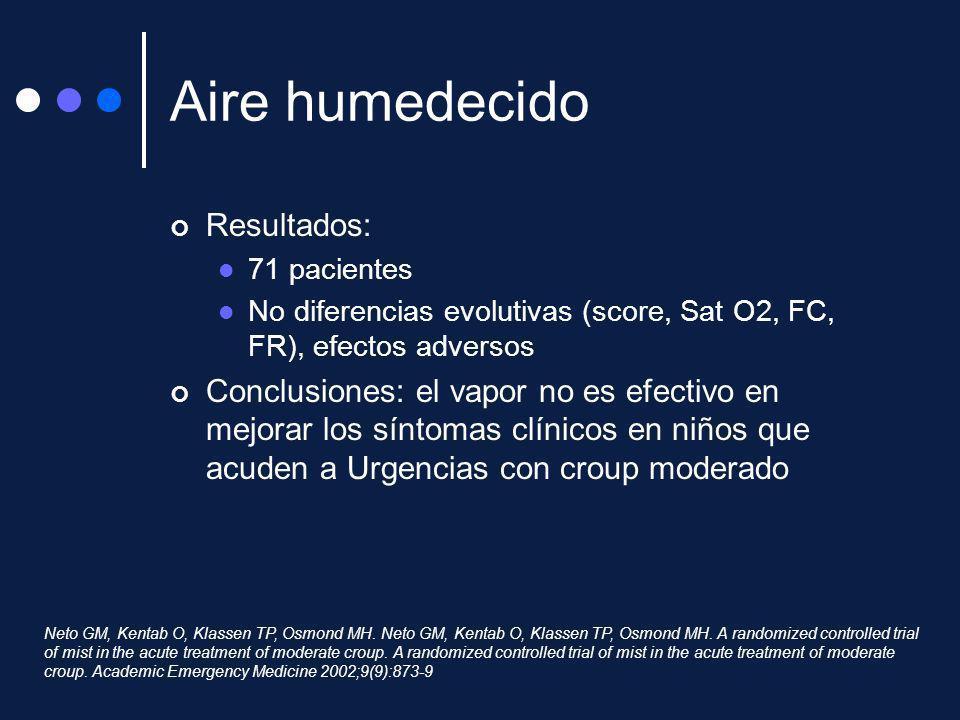 Aire humedecido Resultados: 71 pacientes No diferencias evolutivas (score, Sat O2, FC, FR), efectos adversos Conclusiones: el vapor no es efectivo en