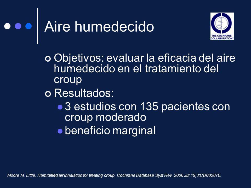 Aire humedecido Objetivos: evaluar la eficacia del aire humedecido en el tratamiento del croup Resultados: 3 estudios con 135 pacientes con croup mode