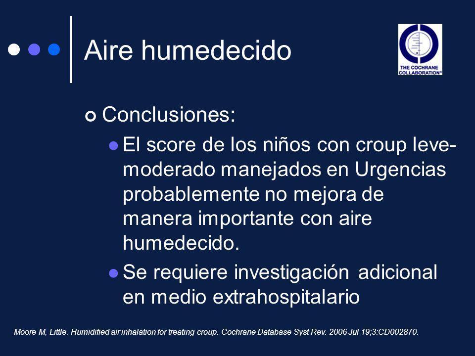 Aire humedecido Conclusiones: El score de los niños con croup leve- moderado manejados en Urgencias probablemente no mejora de manera importante con a