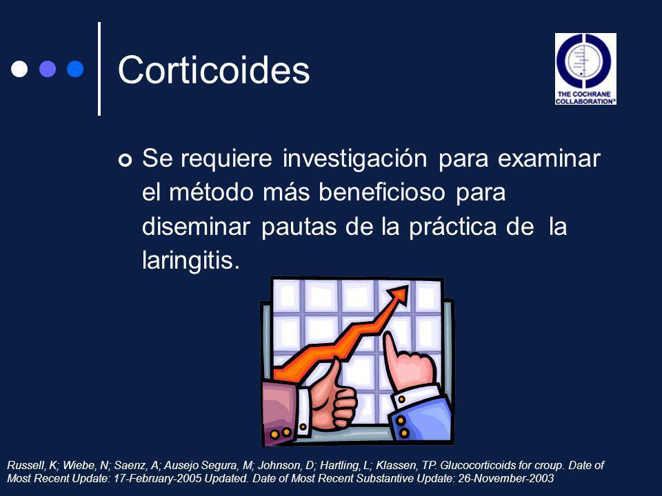 Se requiere investigación para examinar el método más beneficioso para diseminar pautas de la práctica de la laringitis. Russell, K; Wiebe, N; Saenz,