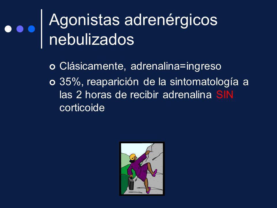 Clásicamente, adrenalina=ingreso 35%, reaparición de la sintomatología a las 2 horas de recibir adrenalina SIN corticoide