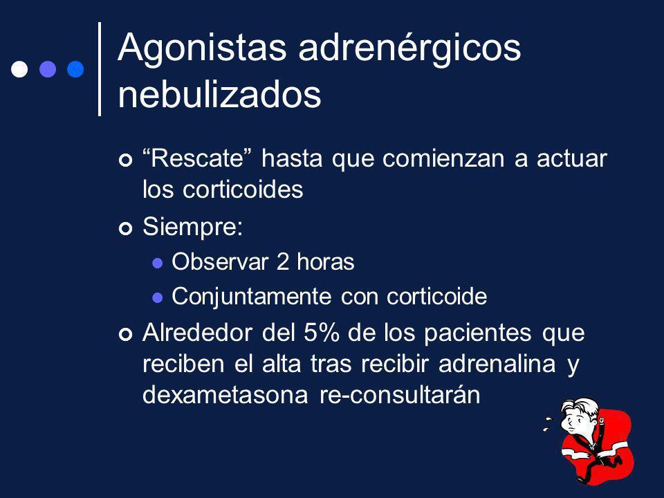 Agonistas adrenérgicos nebulizados Rescate hasta que comienzan a actuar los corticoides Siempre: Observar 2 horas Conjuntamente con corticoide Alreded