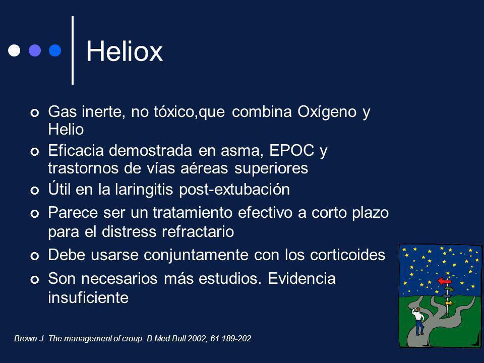 Heliox Gas inerte, no tóxico,que combina Oxígeno y Helio Eficacia demostrada en asma, EPOC y trastornos de vías aéreas superiores Útil en la laringiti