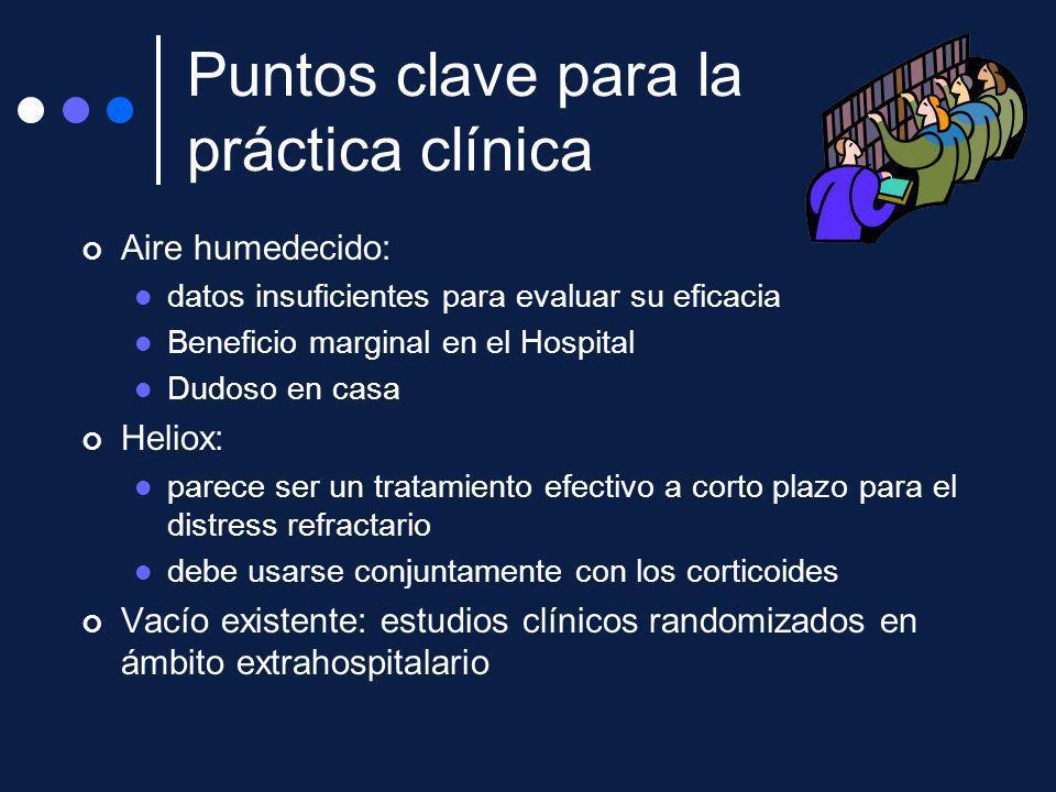Puntos clave para la práctica clínica Aire humedecido: datos insuficientes para evaluar su eficacia Beneficio marginal en el Hospital Dudoso en casa H