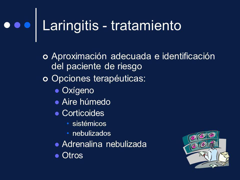 Laringitis - tratamiento Aproximación adecuada e identificación del paciente de riesgo Opciones terapéuticas: Oxígeno Aire húmedo Corticoides sistémic