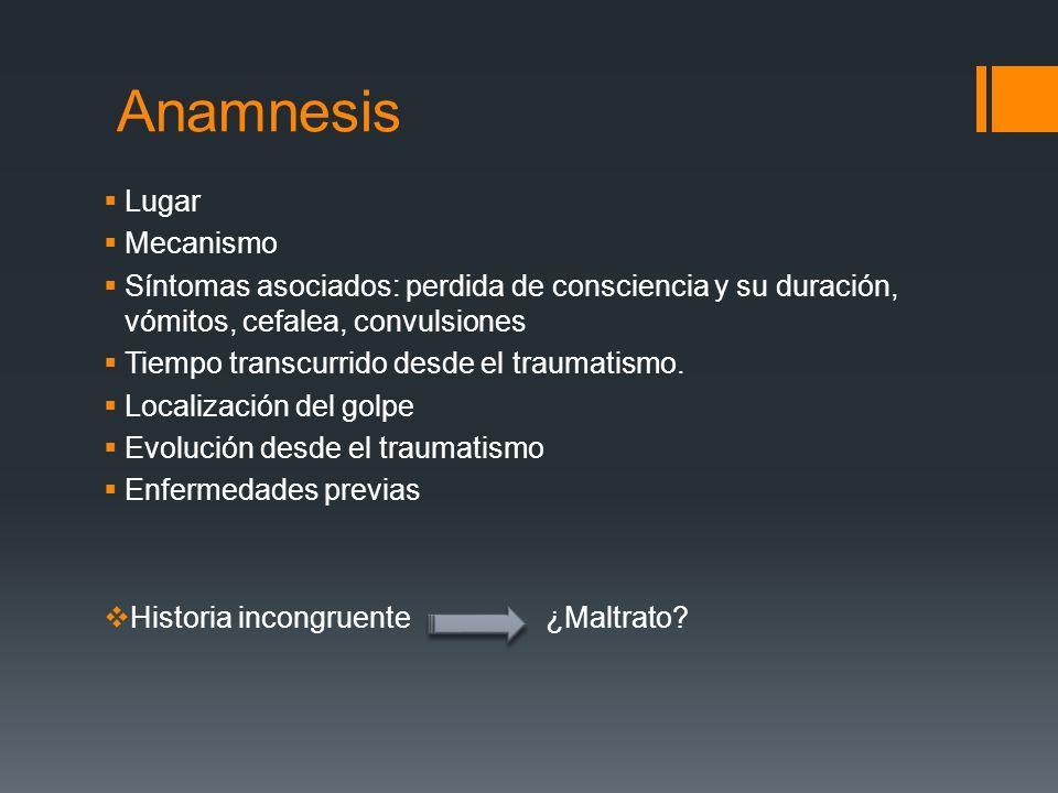Anamnesis Lugar Mecanismo Síntomas asociados: perdida de consciencia y su duración, vómitos, cefalea, convulsiones Tiempo transcurrido desde el trauma