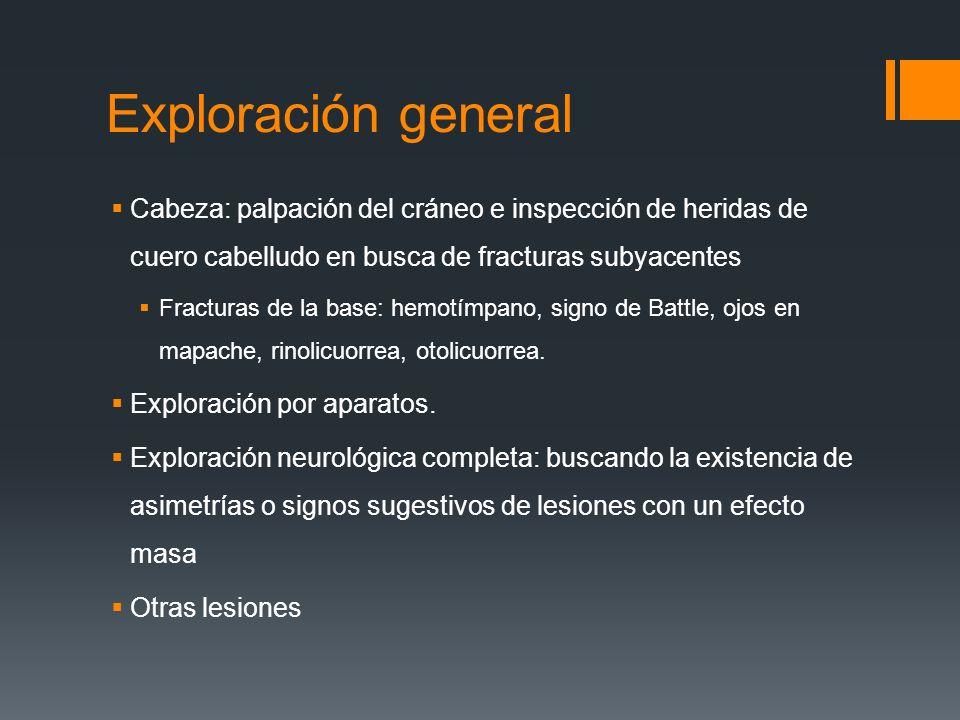 Exploración general Cabeza: palpación del cráneo e inspección de heridas de cuero cabelludo en busca de fracturas subyacentes Fracturas de la base: he