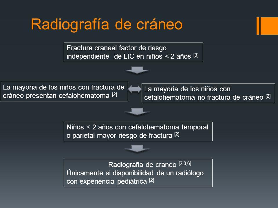 Radiografía de cráneo Fractura craneal factor de riesgo independiente de LIC en niños < 2 años [3] La mayoria de los niños con fractura de cráneo pres