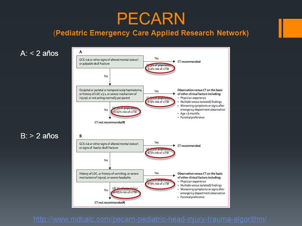 PECARN (Pediatric Emergency Care Applied Research Network) http://www.mdcalc.com/pecarn-pediatric-head-injury-trauma-algorithm/ A: < 2 años B: > 2 año