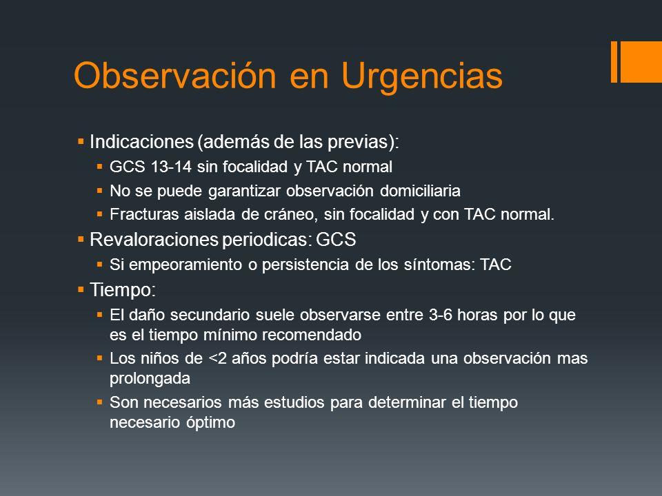 Observación en Urgencias Indicaciones (además de las previas): GCS 13-14 sin focalidad y TAC normal No se puede garantizar observación domiciliaria Fr