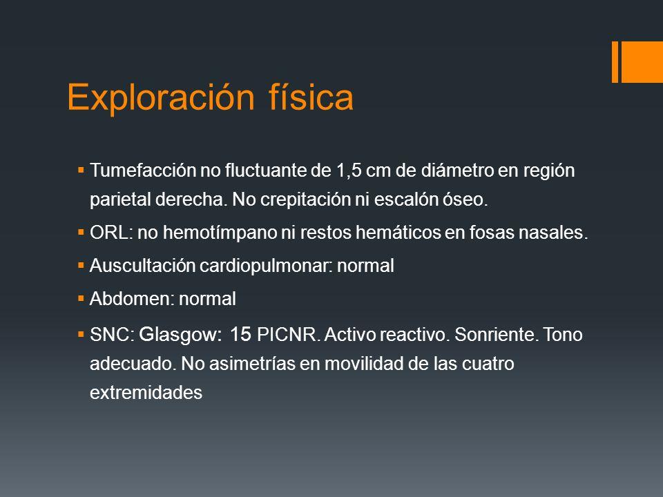 Exploración física Tumefacción no fluctuante de 1,5 cm de diámetro en región parietal derecha. No crepitación ni escalón óseo. ORL: no hemotímpano ni