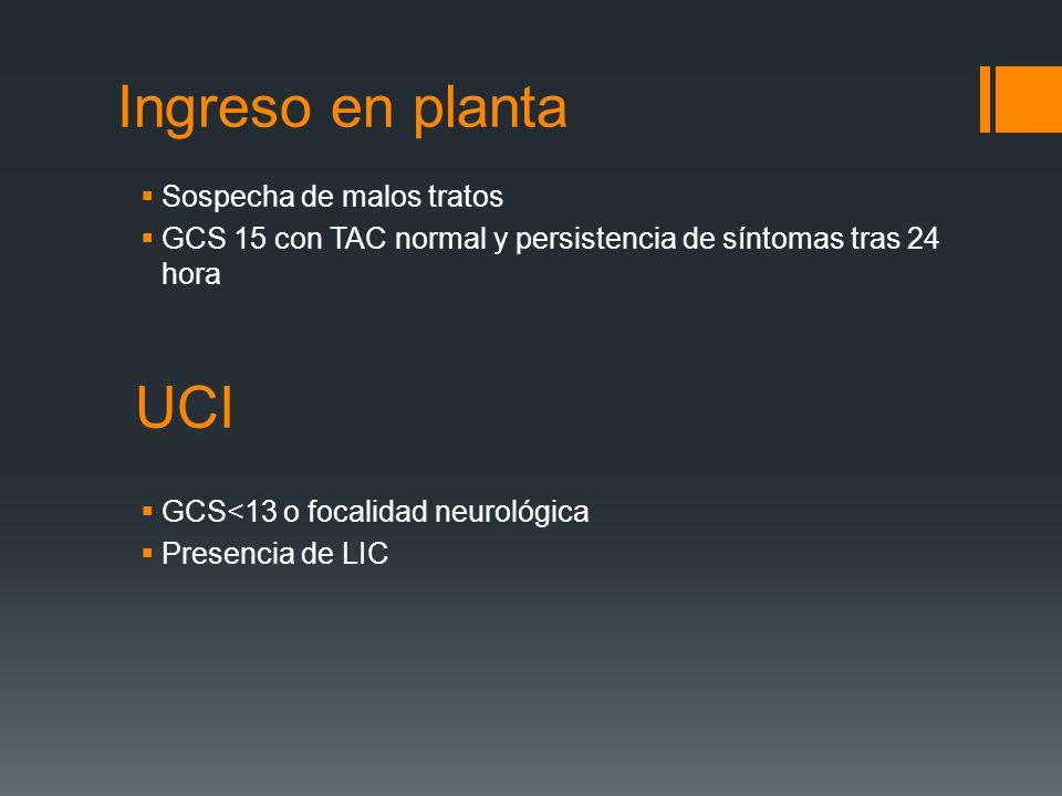 Ingreso en planta Sospecha de malos tratos GCS 15 con TAC normal y persistencia de síntomas tras 24 hora UCI GCS<13 o focalidad neurológica Presencia
