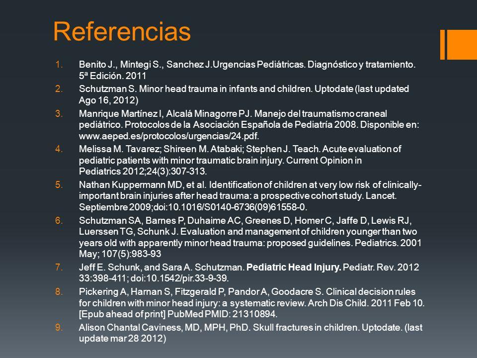 Referencias 1.Benito J., Mintegi S., Sanchez J.Urgencias Pediátricas. Diagnóstico y tratamiento. 5ª Edición. 2011 2.Schutzman S. Minor head trauma in