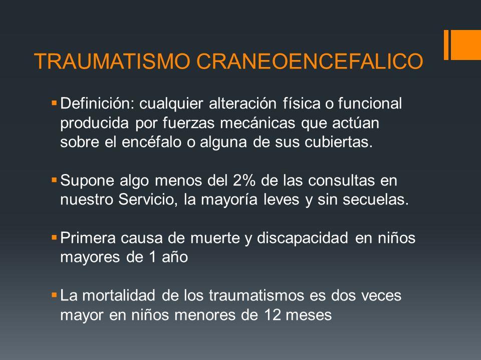 TRAUMATISMO CRANEOENCEFALICO Definición: cualquier alteración física o funcional producida por fuerzas mecánicas que actúan sobre el encéfalo o alguna