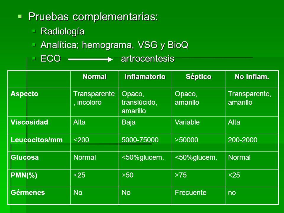 Pruebas complementarias: Pruebas complementarias: Radiología Radiología Analítica; hemograma, VSG y BioQ Analítica; hemograma, VSG y BioQ ECO artrocen