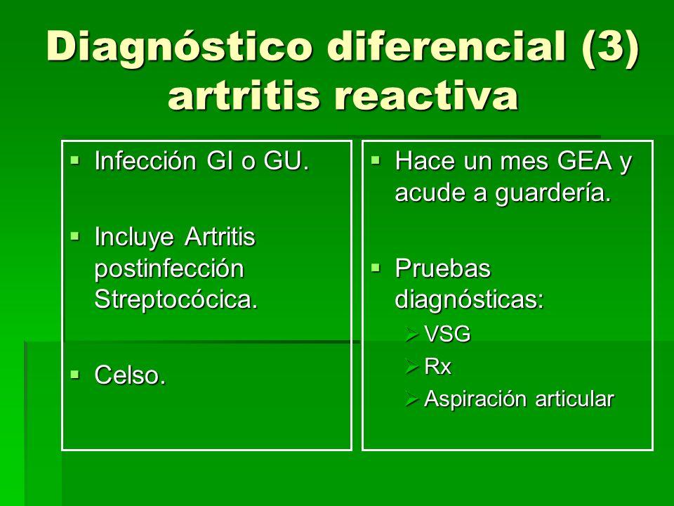 Diagnóstico diferencial (3) artritis reactiva Infección GI o GU. Infección GI o GU. Incluye Artritis postinfección Streptocócica. Incluye Artritis pos