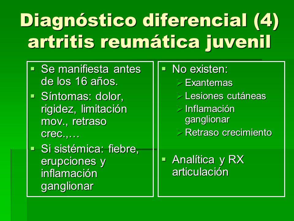 Diagnóstico diferencial (4) artritis reumática juvenil Se manifiesta antes de los 16 años. Se manifiesta antes de los 16 años. Síntomas: dolor, rigide