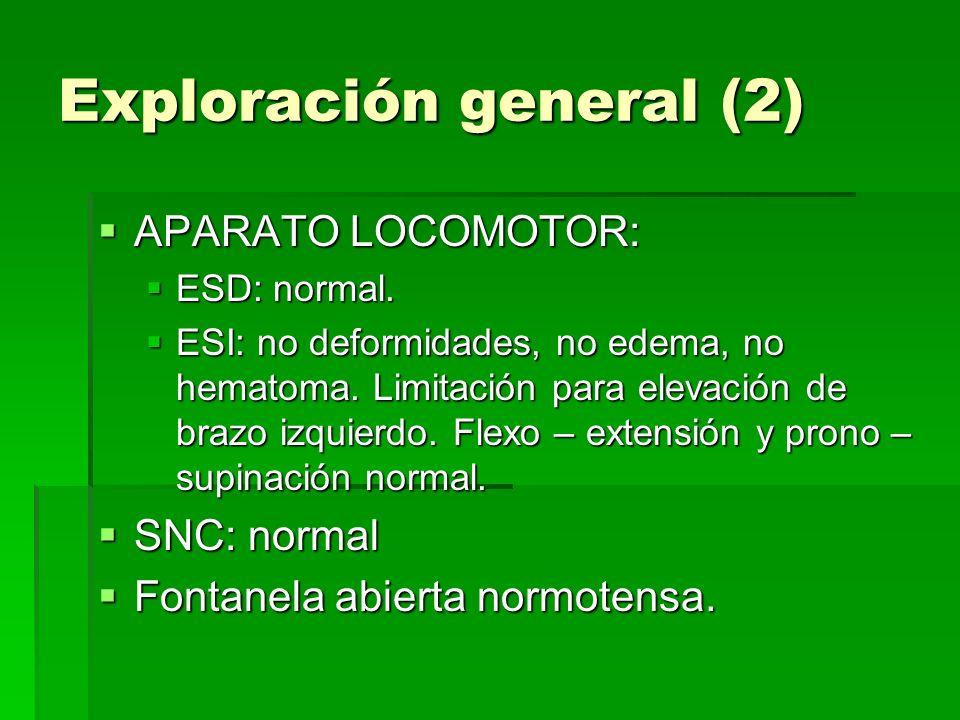 Exploración general (2) APARATO LOCOMOTOR: APARATO LOCOMOTOR: ESD: normal. ESD: normal. ESI: no deformidades, no edema, no hematoma. Limitación para e