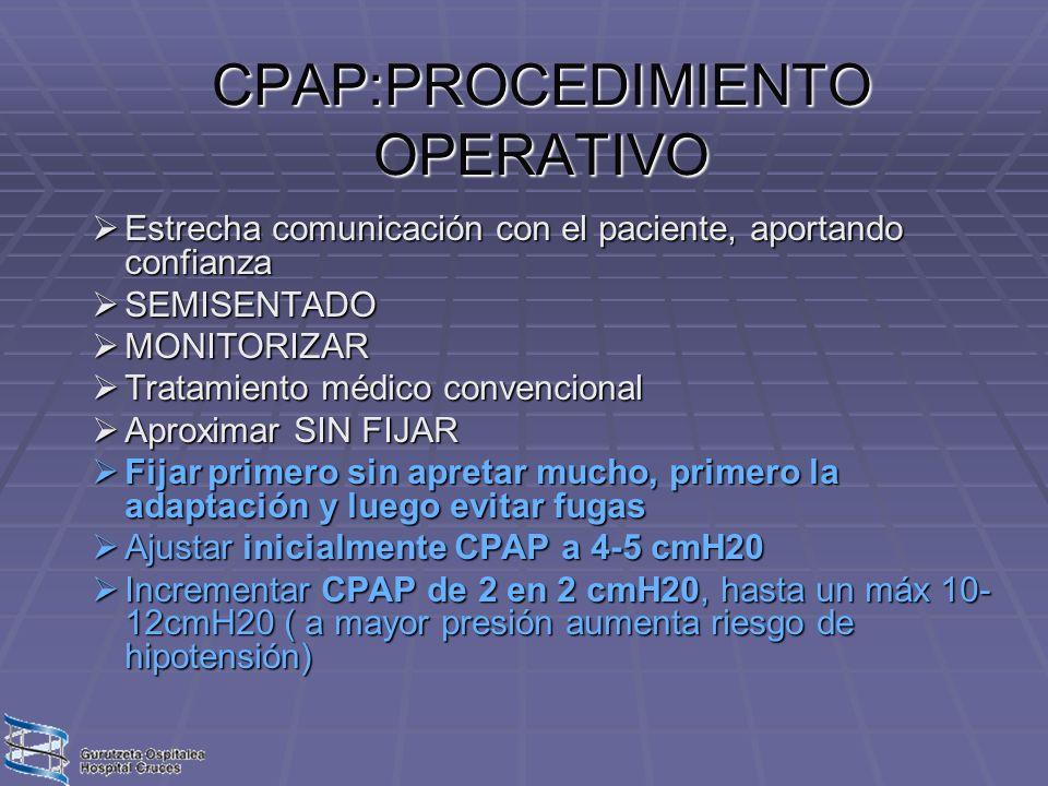 CPAP:PROCEDIMIENTO OPERATIVO Estrecha comunicación con el paciente, aportando confianza Estrecha comunicación con el paciente, aportando confianza SEM