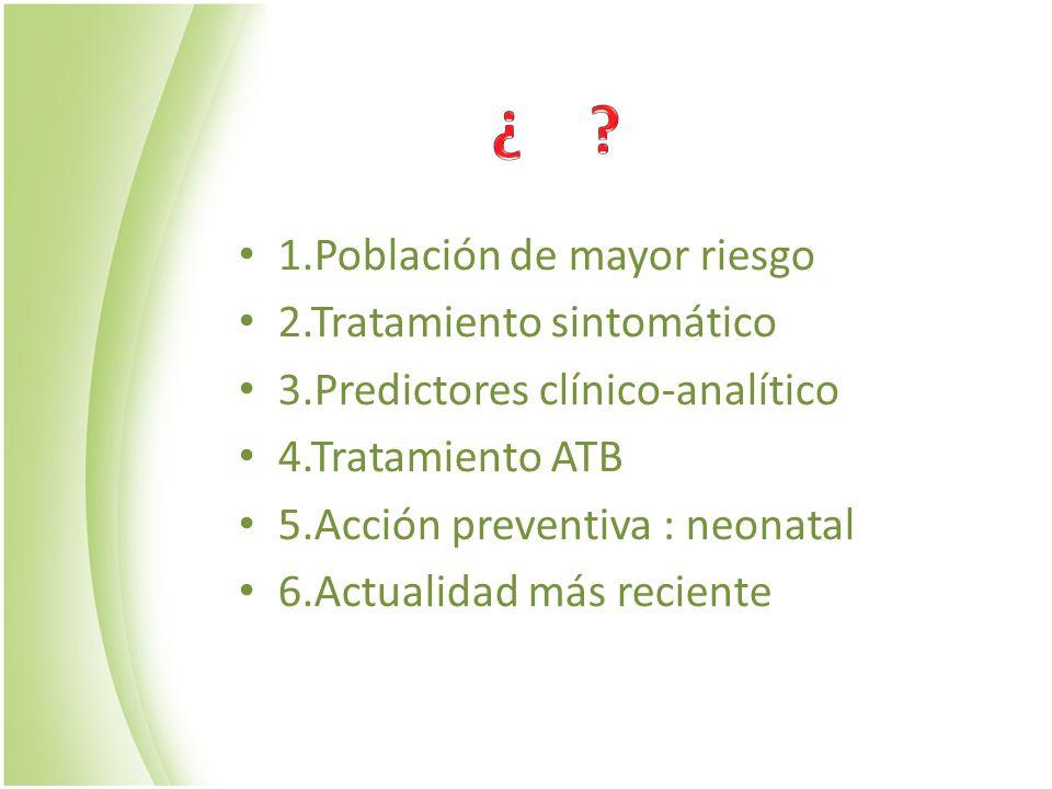1.Población de mayor riesgo 2.Tratamiento sintomático 3.Predictores clínico-analítico 4.Tratamiento ATB 5.Acción preventiva : neonatal 6.Actualidad má