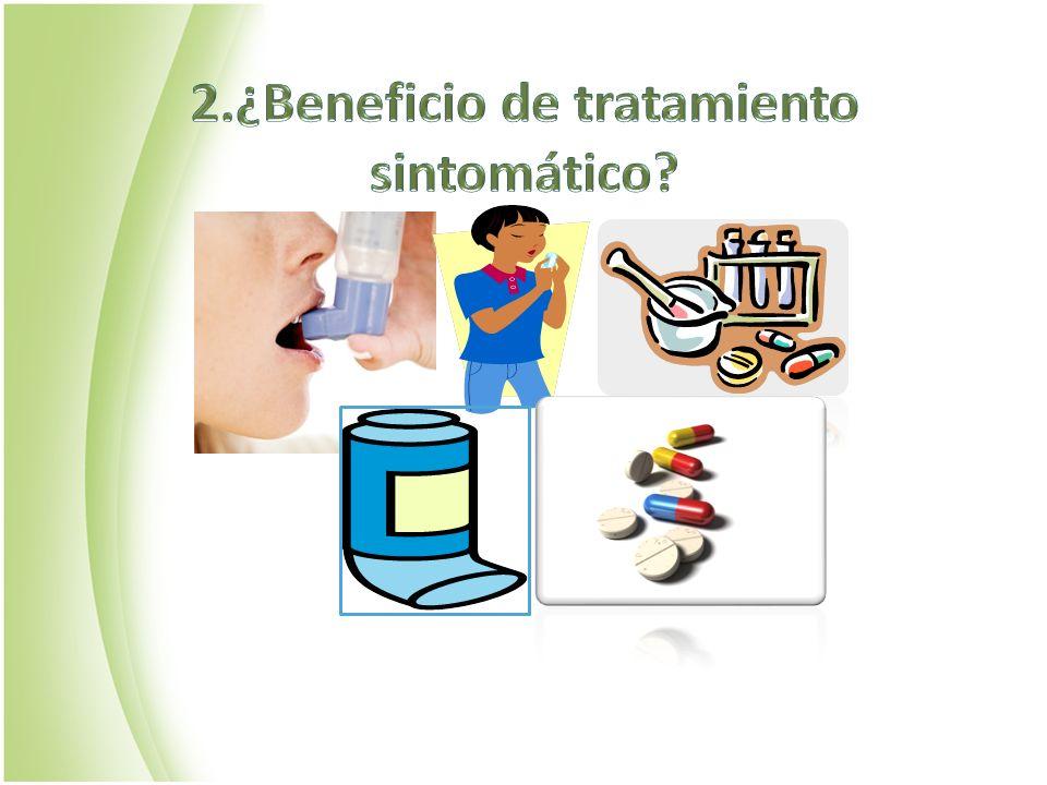 FÁRMACO/PLACEBOEFECTORR Difenhidramina n=49 5mg/kg/dia oral TOS/24H-1,9 ( IC 95% -4,7 a8,5) p=0,66 Salbutamol n=17 0,6mg/kg/dia,4 dosis-2 dias Salbutamol oral N=27 0,1mg/Kg,3 dosis-10 días TOS/24H-0,3( IC 95% -5,3 a 6) -0,7(IC 95% -6,2 a 4,7) Ig n=67 i.mHOSPITALIZACIÓN TOS/24H -0,7 ( IC 95% -3,8 a 2,4,) P=0,66 -3,1 (IC95% -6,2 a 0,02) p= 0,66 CE (Dexa 0,3mg/kg) 4 díasHOSPITALIZACIÓN-3,5( IC 95% -15,3 a 8,4) p=0,57 Metanálisis: 10 ensayos aleatorizado, controlados ¿Antihistaminico, Broncodilatador, Ig, Corticoide .
